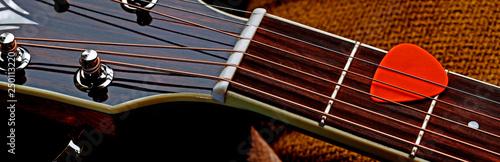 Fotografie, Obraz Acoustic guitar panorama - natural design & materials, for guitar music