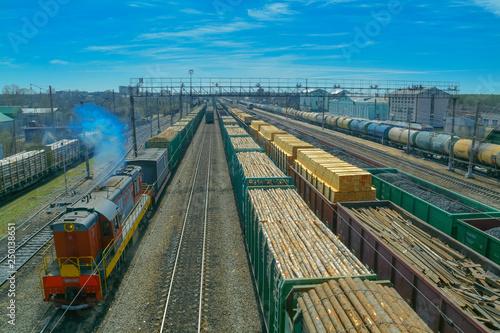 Transportation of wood and coal by rail Fototapeta