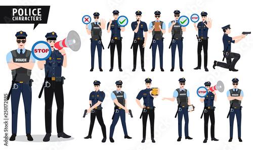 Canvas Print Policeman vector character set