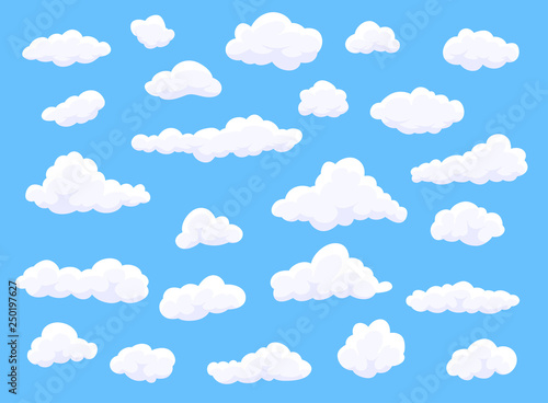 Different shape cartoon white clouds on blue background. Vector decoration element.