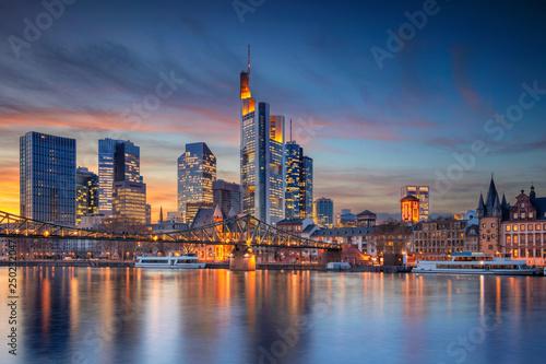 Frankfurt am Main, Germany. Cityscape image of Frankfurt am Main skyline during beautiful sunset.
