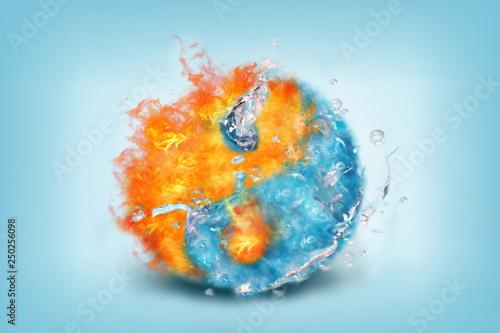 Canvas Print Jing jang water fire