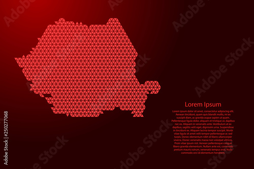 Photo Romania map abstract schematic from red triangles repeating pattern geometric background with nodes for banner, poster, greeting card