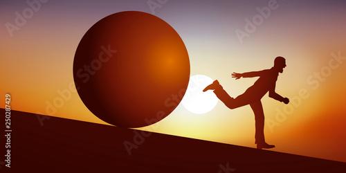 Concept du cauchemar avec un homme en situation de stress, qui fuit en courant pour échapper à une énorme boule, qui le poursuit en dévalant une pente pour l'écraser Fototapeta