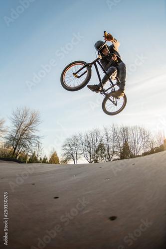 BMX jump in a wooden ramp