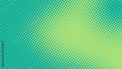 Photo Bright turquoise and green pop art retro background with halftone in comics styl