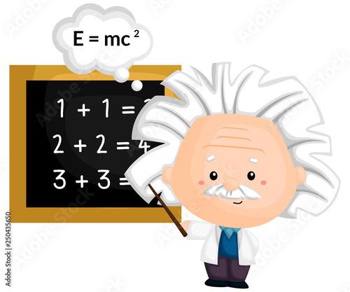 Photo a professor teaching a math and physic