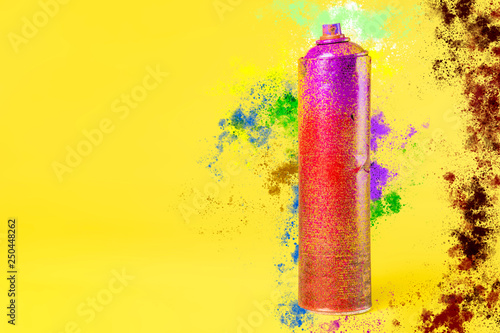street art spray can and color splash on the background concept b
