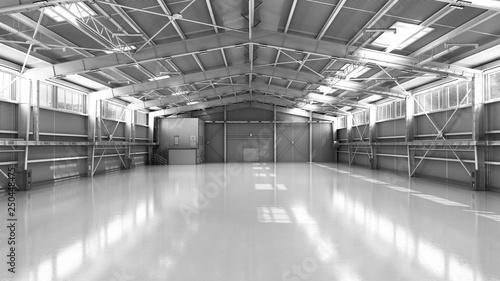 Fotografia empty Hangar delivery warehouse 3d render illustration