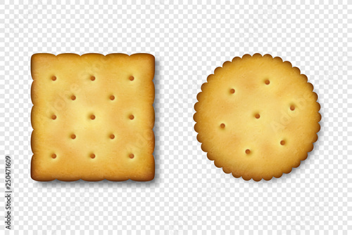 Foto Realistic Vector 3d Round and Square Delicious Salty Cookies Rustic, Cracker, Biscuit Icon Set Closeup Isolated on White Background