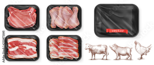 Wall mural Meat food. Beef, pork, chicken legs. Black polystyrene packaging. 3d vector realistic set. High quality 50Mb eps