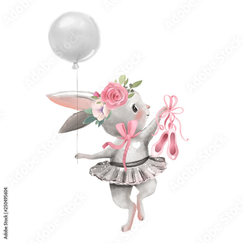 Fényképezés Cute ballerina, ballet girl baby bunny with flowers, floral wreath in a ballet d