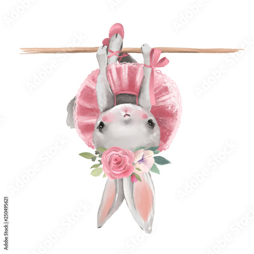 Fotomural Cute ballerina, ballet girl baby bunny with flowers, floral wreath in a ballet d