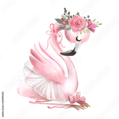 Fotografia Cute ballerina, ballet girl baby flamingo with flowers, floral wreath in a balle