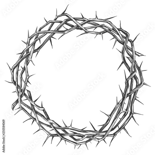 Fotografia crown of thorns, easter religious symbol of Christianity hand drawn vector illus