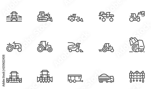 Photo Agricultural Machinery Vector Line Icons Set