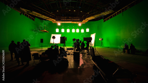 Valokuva Behind the scenes or the making of film video production and movie crew team wor