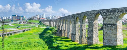 Fotografiet Panoramic view of Kamares aqueduct in Larnaca. Cyprus.