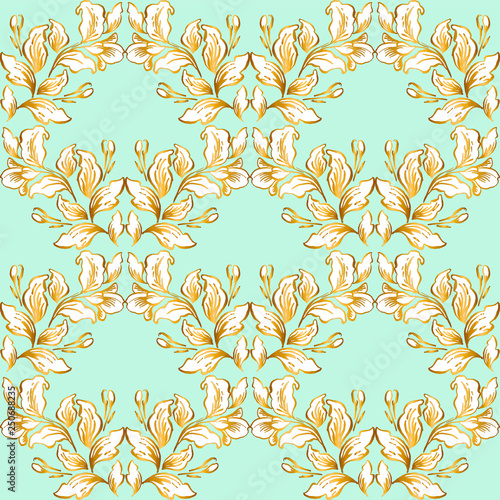 Fototapeta Vintage baroque pattern seamless vector in classic flower graphic style background for backdrop, template, cover page design, fabric,textile