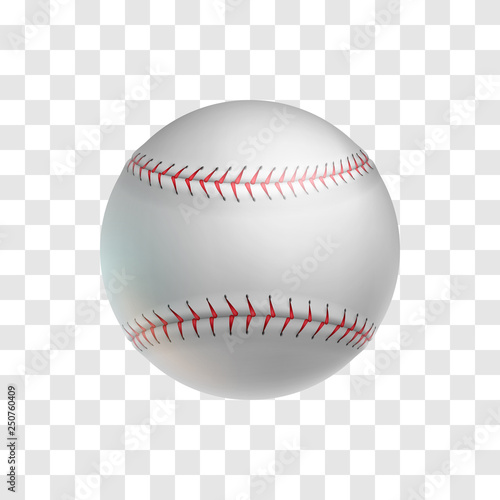 Canvas Print Realistic leather baseball ball isolated on transparent background