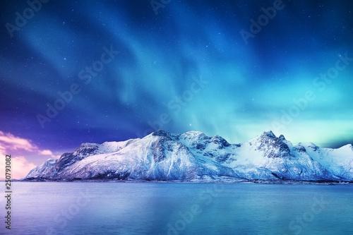 Платно Aurora borealis on the Lofoten islands, Norway