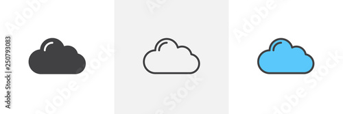Cloud computing icon. Line, glyph and filled outline colorful version, abstract cloud outline and filled vector sign. Symbol, logo illustration. Different style icons set. Vector graphics