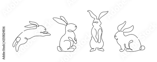 Leinwand Poster Easter bunny set in simple one line style