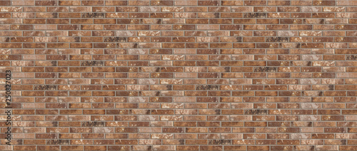 Canvas Long wide old dirty red brick wall texture background