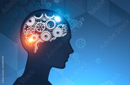 Foto Man head silhouette with gear brain