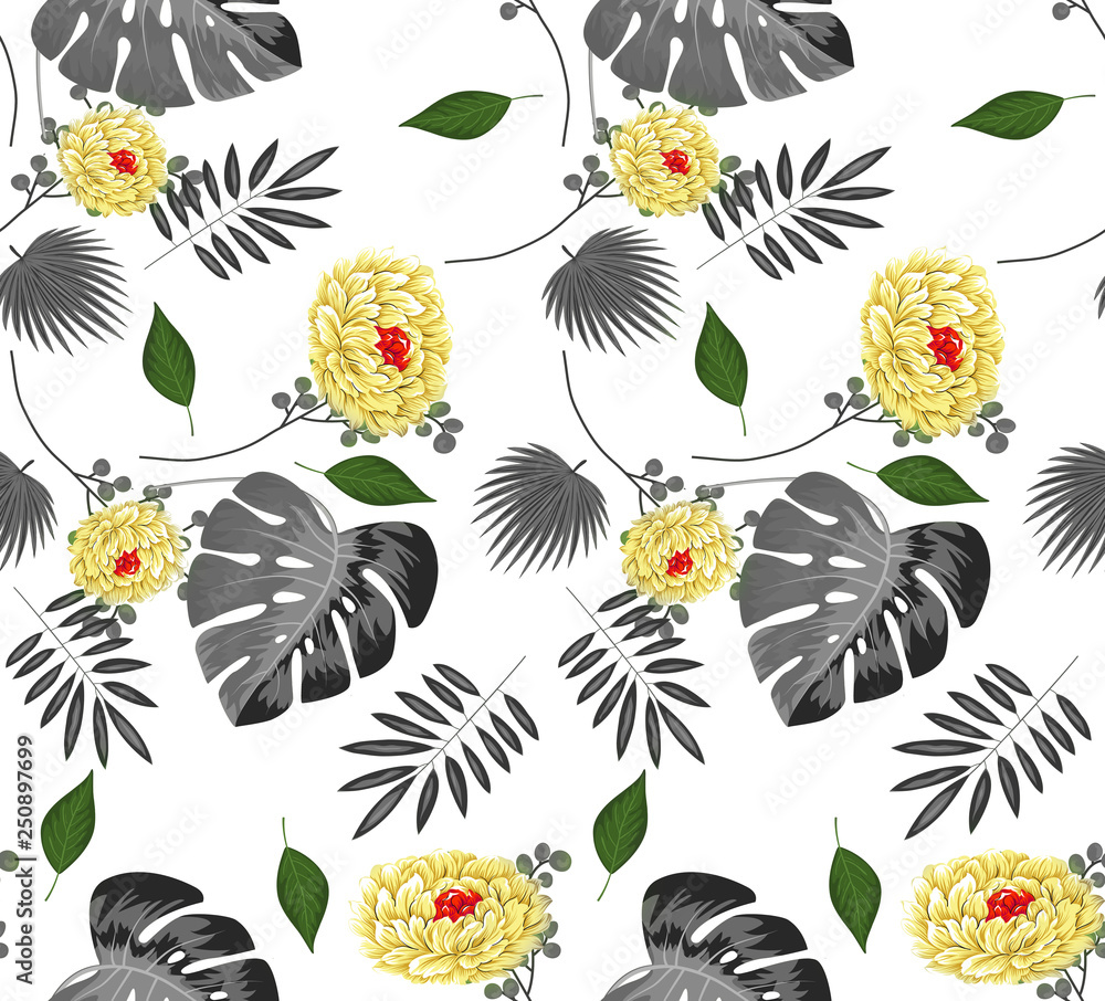 Trendy  seamless beautiful artistic summer tropical pattern with exotic palm pattern