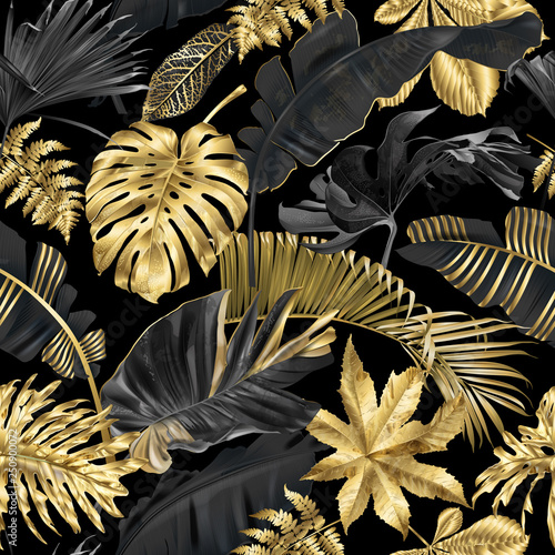 Fototapeta złote czarne tropikalne liście