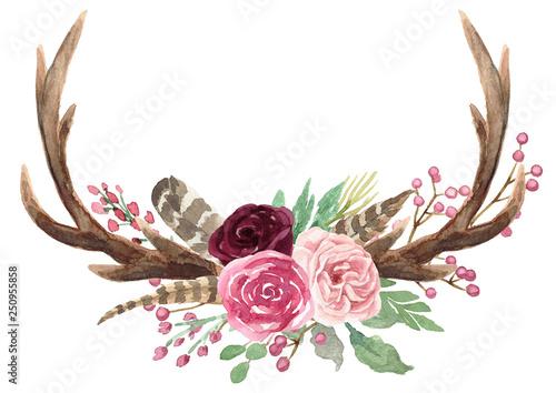 Tela Rustic Watercolor Floral Antler Bouquet