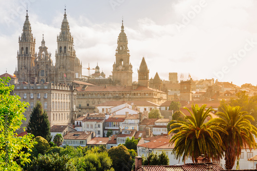 Canvas Print Santiago de Compostela, Cathedral at sunrise. Galicia, Spain