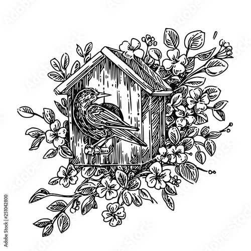 Slika na platnu The birdhouse with starling  in the flowering branches