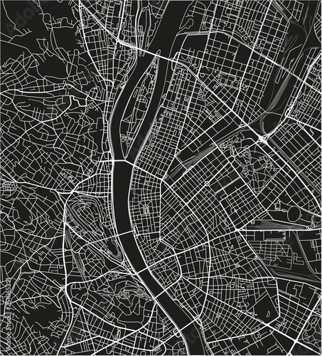 Wallpaper Mural Black and white vector city map of Budapest with well organized separated layers
