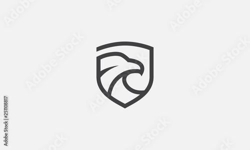 Photographie eagle shield logo, eagle icon, eagle head, vector