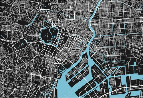 Obraz na plátně Black and white vector city map of Tokyo with well organized separated layers