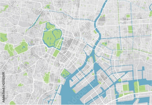 Fotografie, Obraz Vector city map of Tokyo with well organized separated layers.