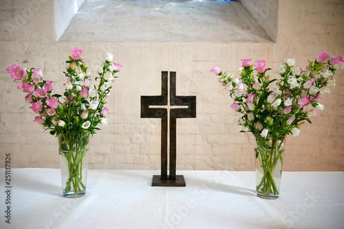 Photo altar with crucifix in a church