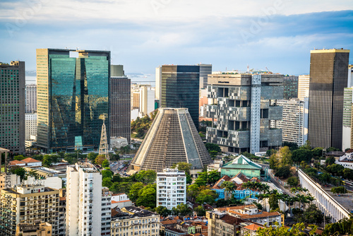 Canvas Print View of Rio city centre including the Cathedral from Parque das Ruínas cultural