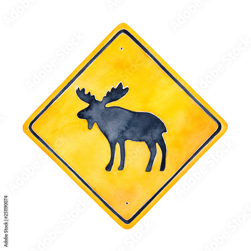 Leinwand Poster Warning road sign illustration with wild moose character silhouette