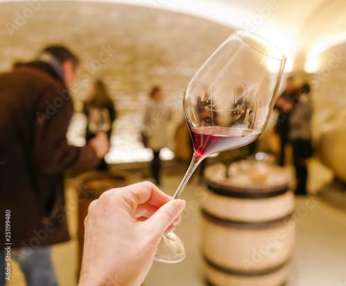 Tableau sur Toile dégustation de vin rouge en cave