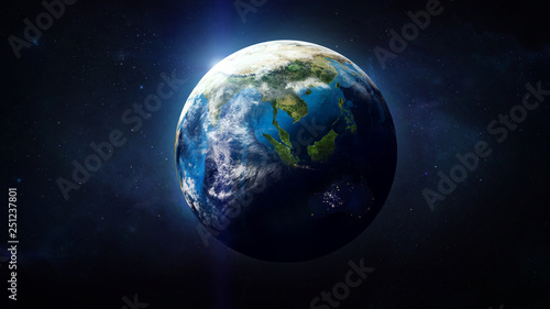 Canvas Print Planet Earth globe in the space, Blue ocean and continents
