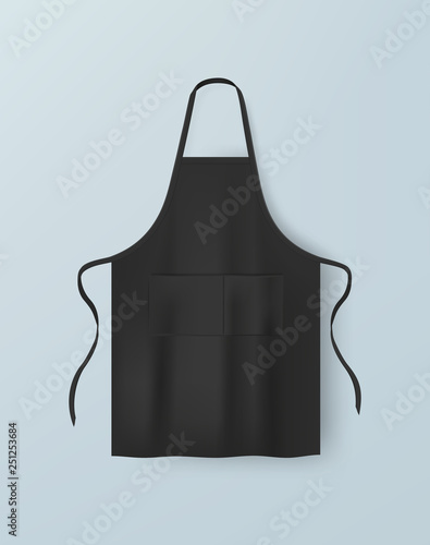 Murais de parede Black blank kitchen cotton apron isolated vector illustration