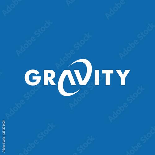 Fotografie, Tablou gravity wordmark logo icon vector template