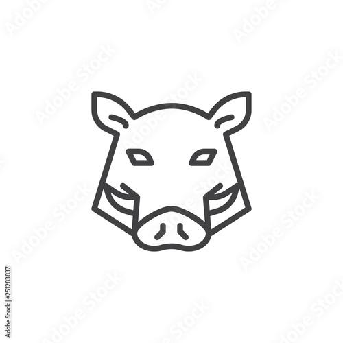 Obraz na plátne Boar head line icon