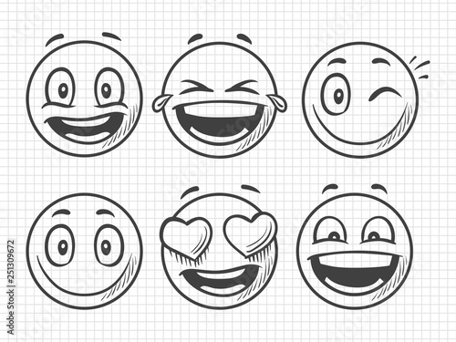 Hand drawn positive emojis, smile vector sketch. Illustration of emoji and emotion, smile expression face, emoticon sketch