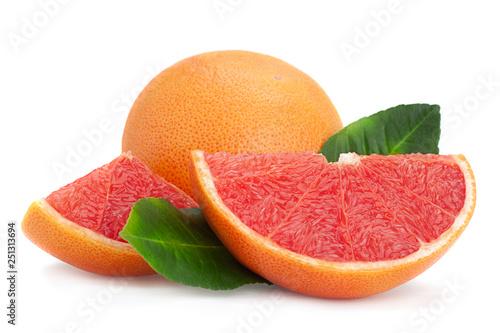Obraz na płótnie Red grapefruit with leaf