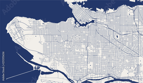 Fotografie, Obraz map of the city of Vancouver , Canada