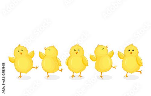 Fotografija Little chicks cartoon set